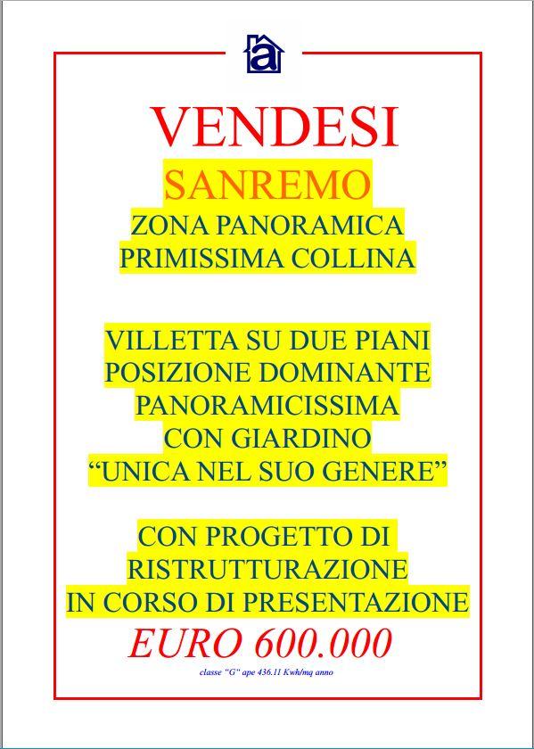 Sanremo villetta su due piani posizione unica dominante for Piani casa ranch in collina